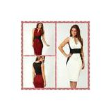 Formal Sleeveless midi bodycon Casual Womens Dresses in Red / White