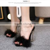 B22414A Ladies High-end temperament Fluffy crystal Heel toe shoes high-heeled sandals