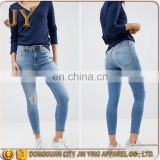 OEM Service Navy Jeans Raw-cut Notch Hem Girl Skinny Pants Customized Garments