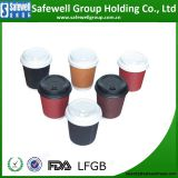 8 oz - 12 oz To Go Paper Coffee Cups with Lids - Disposable, Insulated & Recyclable Multicolor Ripple Paper Coffee Cups