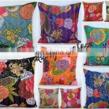 Cotton Kantha Pillow Cover Handmade Cushion Cover Indian Designer Kantha Pillow Cover