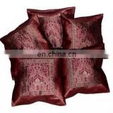 Handmade Silk Cushion Cover Banarasi Brocade Work Elephant Design Rajasthani art Cushion Cover Single Pillow Cover Pillow Case