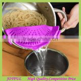 Clip-on Silicone Strainer for Draining Food while Cooking Snap Pan Strainer