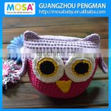 Newborn Baby Girl Shower Gift Crochet Stuffed Owl Doll Purple With Ears