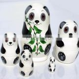 Panda Animals Wooden Nesting Dolls Handmade in Russia Matryoshka Dolls For Kids Buy Matryoshka Best Wood For Toys Set 5 pc