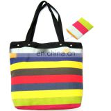 2015 Colorful Stripe Pattern Top Quality Canvas Bag Set