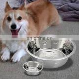 Cheap rubbery base stainless steel dog bowl