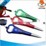 color plastic ball points pen with bottle opener shape clip