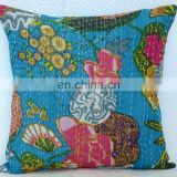 "Kantha Cushion Pillow Cover Handmade Embroidery Work Throw 16"" Indian floral Printed Home Decorative Traditional art Sky Blue"