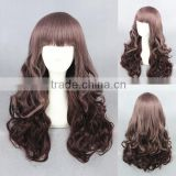 Wholesale high quality 65CM medium brown curly wave Lolita fashion women party synthetic hair wig