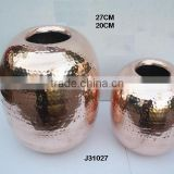 Copper Vase jar style with Mirror polish and hammered patterns