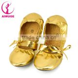 Soft PU ballet shoes/roll up ballet dance shoes