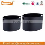 European Set of 2 Black Oval Log Holder