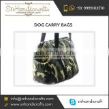 New Latest Cotton Dog Carry Bag with Faux Leather Bottom