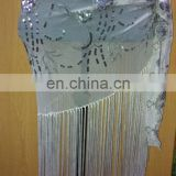 lace sequince scarf with 30'' fringe
