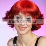 Red colorful party synthetic wig, short curly red hair wig for women