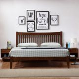 Quality Home Interior bedroom furniture rubber wood King/Doube Bed with slat panel in Cheap price and Walnut painting