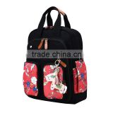 2017 wholesale fabric print mommy shoulder backpack
