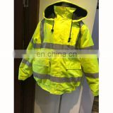 High visibility safety winter waterproof 4 in 1 reversible traffic jacket