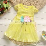 Yellow Classy Floral Applique Dress for kids