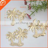 coconut tree shape metal clothing trim for garment in gold color