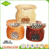 Wholesale China custom modem design 100% handmade indoor wicker luxury cat house with pet bed