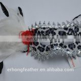 white masquerade party mask with cock feather