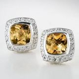 Sterling Silver 7mm Square Citrine Petite Earrings
