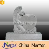 China shanxi black granite weeping angel monuments heart shape headstone tombstone NTGT-048L