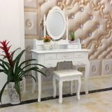 White wooden modern high quality dresser MDF dressing table with mirror drawer stool