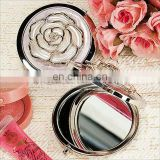 A0209 Cream White Rose Chrome Compact Mirror Wedding Favors