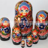 Handmade Matryoshka Dolls with Colored Bright Flowers Matryoshka Contacts Russian Doll Painting Eco Toys Set 7pc