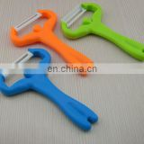 Funny design weightlifting shape ceramics peel cutter with ABS plastic handle for promotional gift