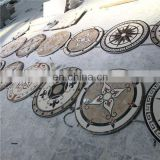 Rectangle marble floor medallions patterns