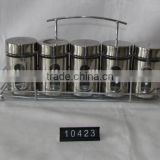 5 pieces mat shinning stainless steel coated spice glass with metal stand