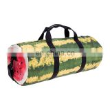 fashion outdoor polyester fruit print custom sports travel bag