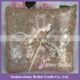 RP02 bride and groom personalized champagne sequin ring cushion wedding ring pillow