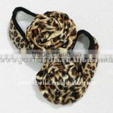 Baby Leopard Crib Shoes with Leopard Rosettes MAS38