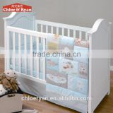 European Luxury White and Golden Wooden Crib Baby Cot