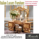 Royal European Antique gold baroque solid wood carved bedroom dresser with mirror set Louis XVI home furniture