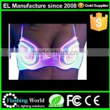 Top quality most popular print/embroidery logo penti and EL wire light up bra