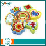Custom 3D Bakeware Cookie Tools Set Colorful Plastic Round Cookie Cutter