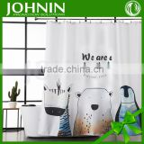 hot sales sublimation printing customized we are a family waterproof hook shower curtain