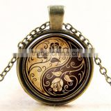 XP-TGN-LT-104 Hot Sale Life Tree Charm Dome Cabochon Pendant Family Glass Colorful Time Gem Necklace For Gift