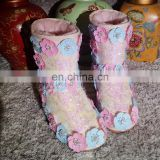 Aidocrystal New designed flower women bling pink sequins wedge heel ankle snow boots