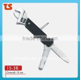 2014 new Stainless steel multi function pocket wrench tools 15-3B.