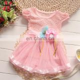 Pink Classy Floral Applique Dress for kids