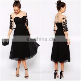 Wholesale O-neck embroidered sleeves short prom dresses for women