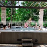 6 Person Party Garden Spa Massage Bathtub with Glass Holder