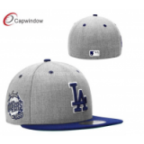 Grey LA Doogers Sports Flat Brim Baseball Hats with Wool and Acrylic